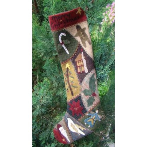 Crazy Wool Christmas Stocking Kit Primitive Gatherings