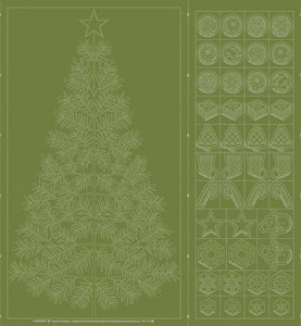 Wagara Sashiko Panel Seasons Greetings Green QH Textiles