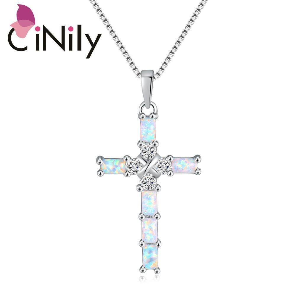 CiNily Opal Necklace Pendant Cross Christian Silver Plated Fashion Jewelry with Zircon Inlay for Woman Anniversary Gift - Shirt King Shop