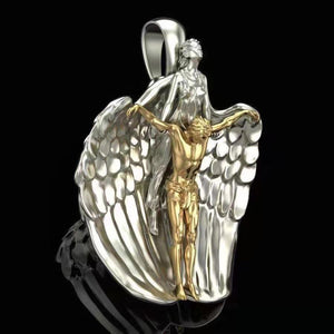 FDLK  Newest Bible Angel Saint Pendant Pray for Us Necklaces & Pendants Archangel Angel  Jesus Necklace Jewelry - Shirt King Shop