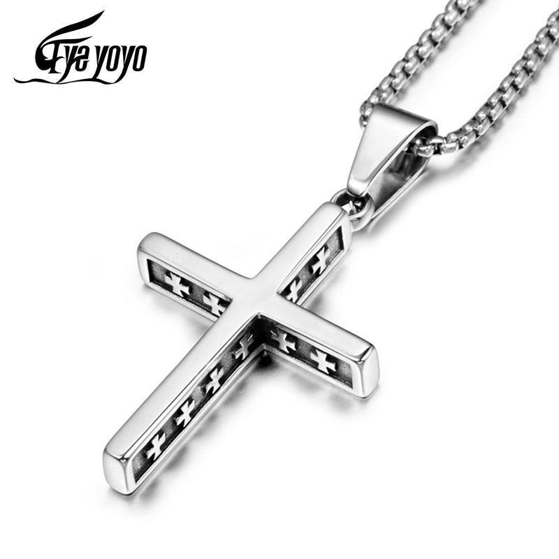 EyeYoYo Titanium Steel Vintage Cross Pendant Necklace Men Religious Delicate Necklace Personality Jewelry - Shirt King Shop