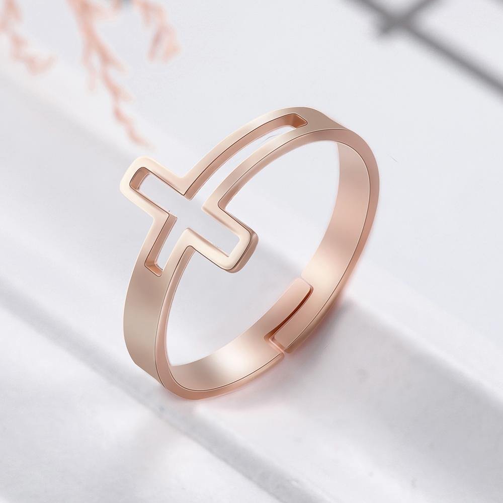 Skyrim New Cross Adjustable Rings Christian Religious Stainless Steel Rose Gold Color Couple Ring Jewelry Gifts for Women Girls - Shirt King Shop