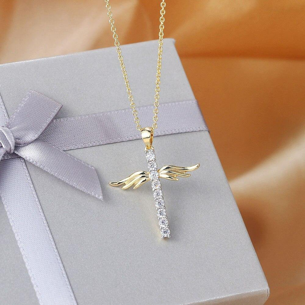 Pendant Necklace For Women Korean Angel Wings Cross Zircon Light Gold Color Choker Chains Gift Jewelry Wholesale N229 - Shirt King Shop