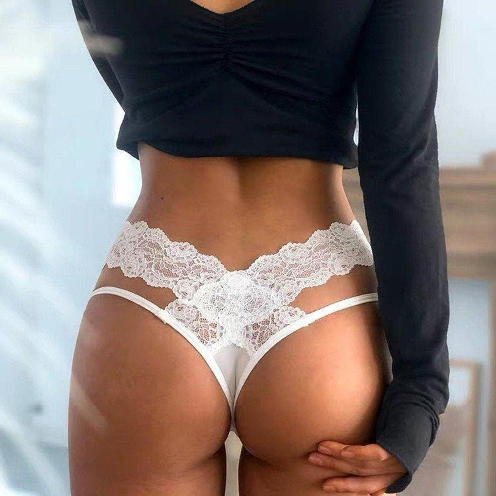 Women Sexy Lace Lingerie Temptation Low-waist Panties Embroidery Thong Transparent Hollow out Underwear Female G String - Shirt King Shop