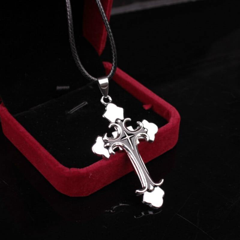 2019 New True Leather Rope Short Collarbone Necklace Cross Pendant Necklace Christian Jesus Women Men Fashion Simple Jewelry - Shirt King Shop