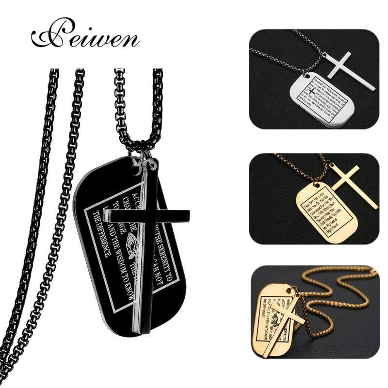 Military Style Dog Tags Cross Pendant Necklace Christian Lord's Prayer Bible Verse For Men Women Stainless Steel Charm Choker - Shirt King Shop
