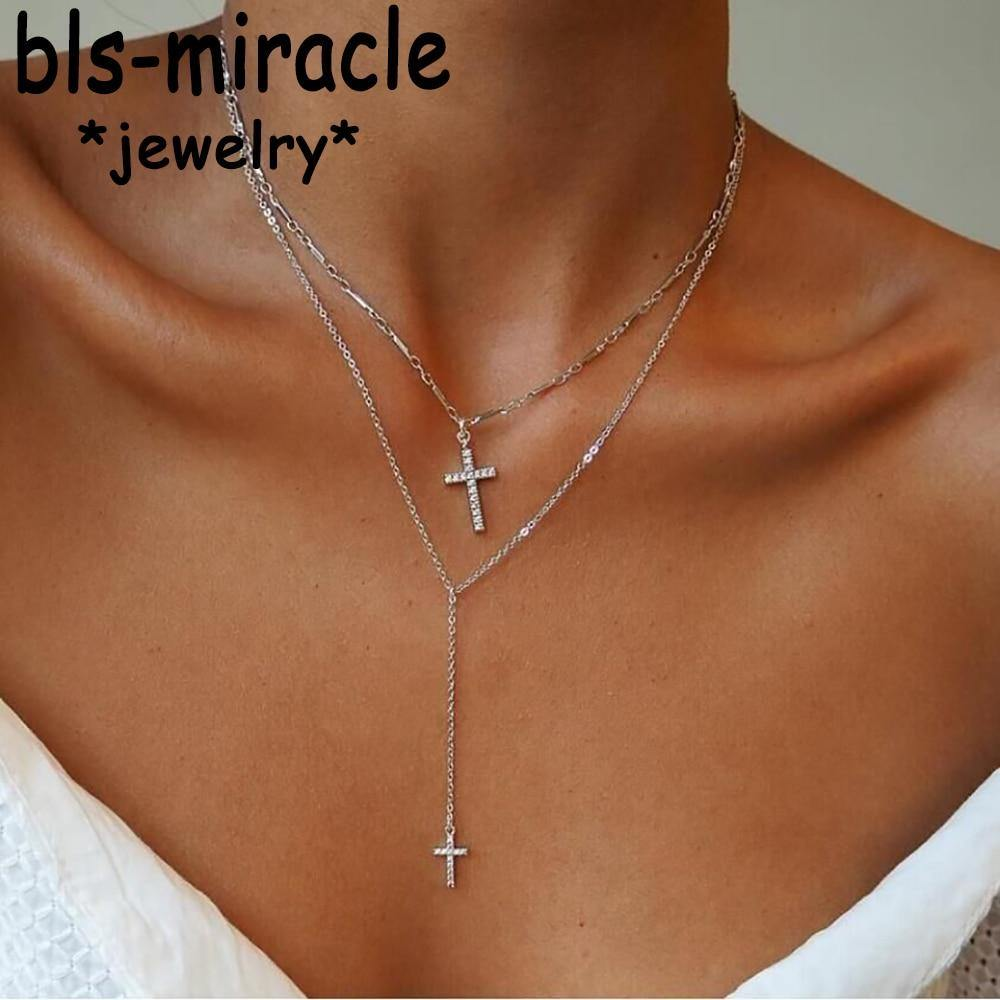 Fashion Gold Color Crystal Cross Necklaces Pendants Boho Double Layered Necklace Catholic Religious Christian Statement Jewelry - Shirt King Shop