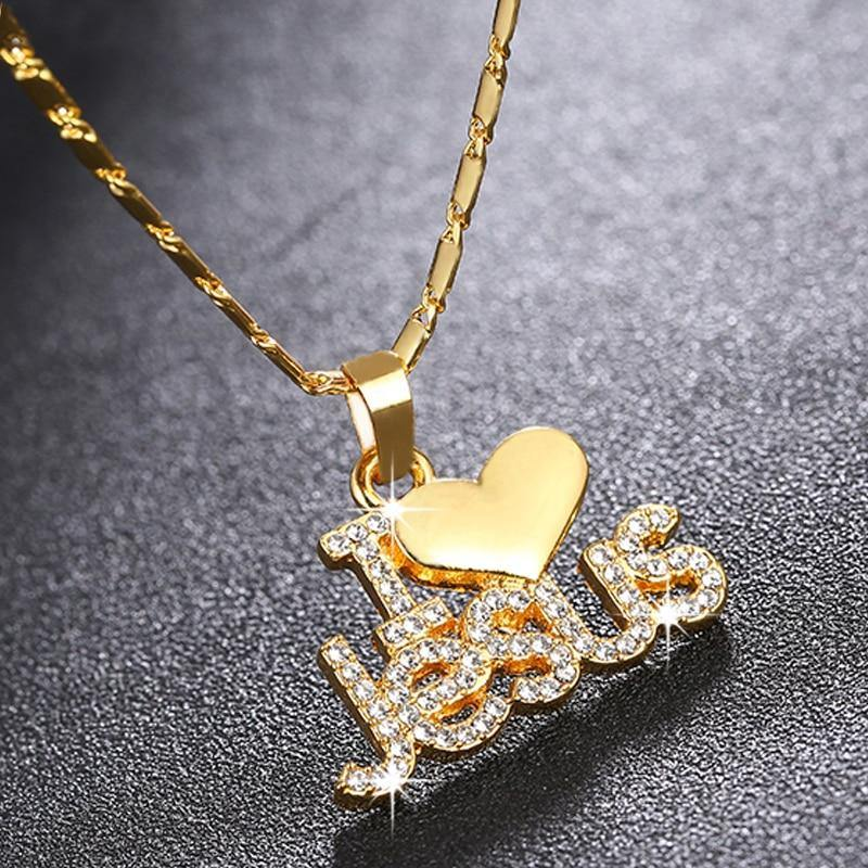Fashion Religious I Love Jesus pendant necklace for women gold/rose gold Christian jewelry accessories gift - Shirt King Shop