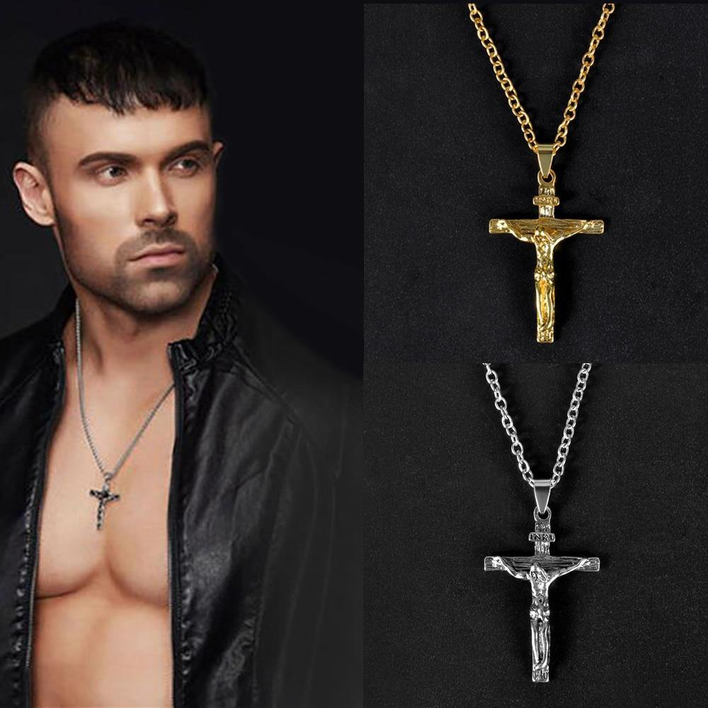 Christian Pendant Necklace Men Fashion Jewelry Crucifix Jesus Cross pendant Long Chain Necklaces Jewelry - Shirt King Shop
