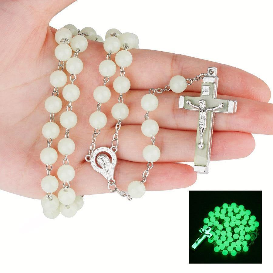 8MM luminous Christian Catholic Cross Rosary Necklace Glowing Light in Dark Beaded Rosary Necklaces for Men Women Christians - Shirt King Shop