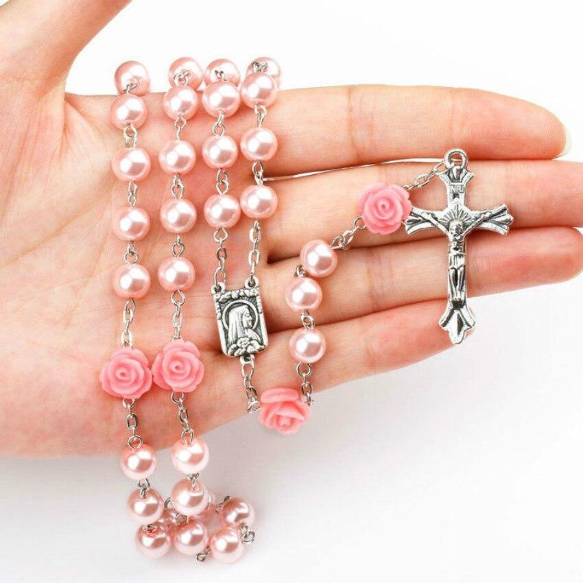 2018 pink Catholic Religious Women Christian Virgin Mary Rosary cross Necklace Jewelry Crystal Prayer Beads - Shirt King Shop