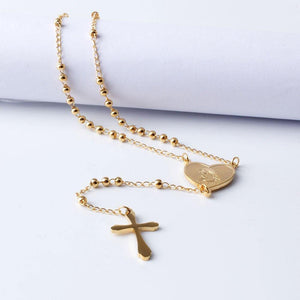 FINE4U N108 Jesus Christ Crucifix Necklace For Women 316L Stainless Steel Long Rosary Beads Necklace Virgin Mary Heart Necklaces - Shirt King Shop