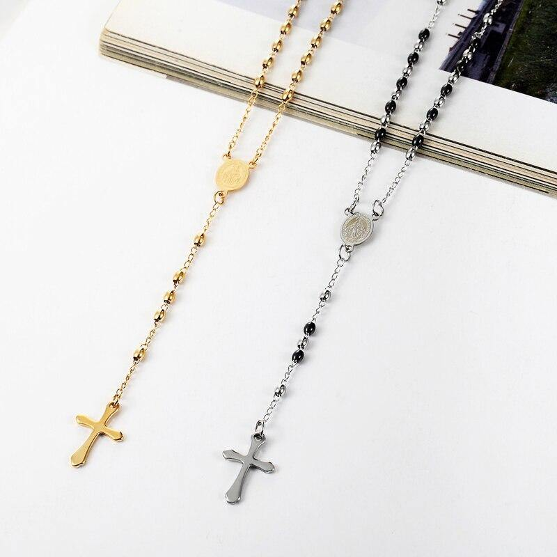 3mm Oval Bead Rosary Cross Pendant Necklace Stainless Steel Jesus Center Christian Catholic Religion Jewelry - Shirt King Shop