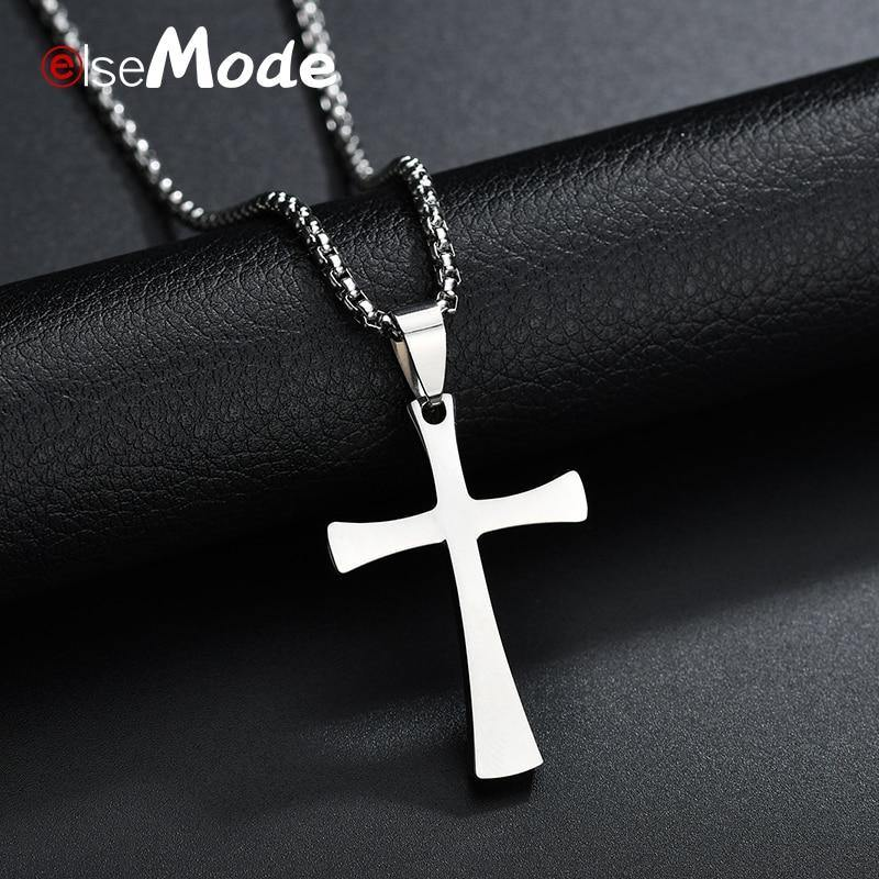 ELSEMODE Christian Titanium Stainless steel Cross Simple Necklace for Men Women Silver Color Crucifix Jesus Pendant Necklaces - Shirt King Shop