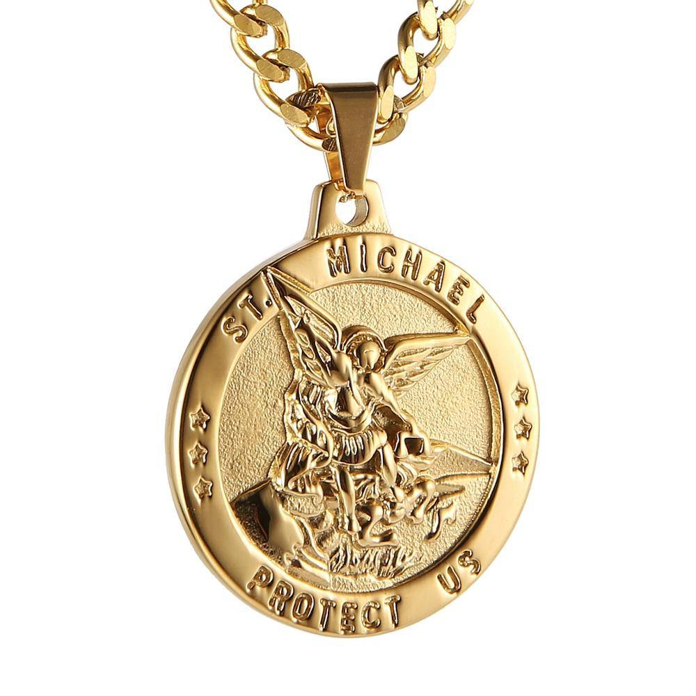 "HZMAN St Michael The Archangel Catholic Medal Stainless Steel Amulet Pendant Necklace 22+2"" Rolo Curb Chain - Shirt King Shop"