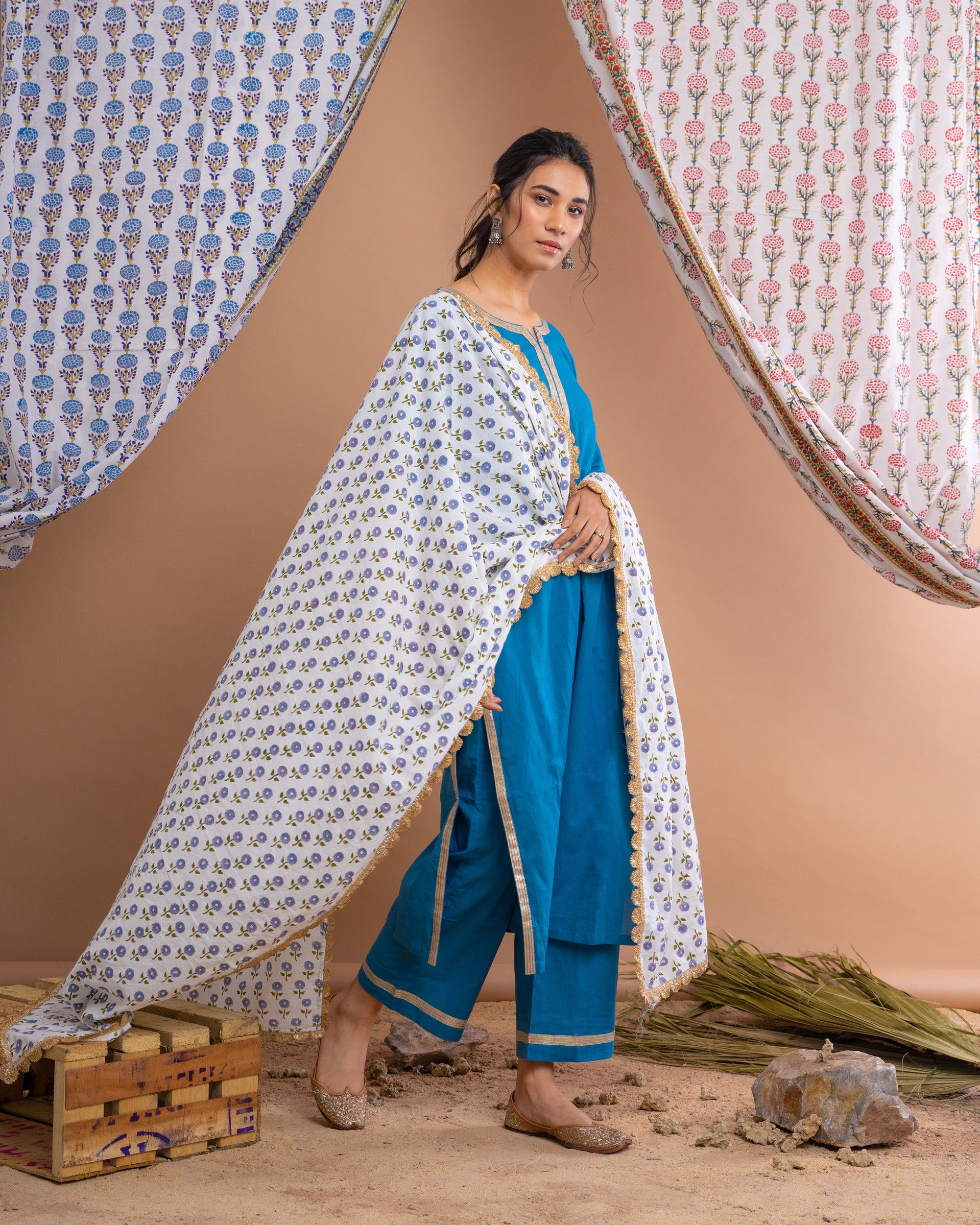 Blue Cotton Gota Suit With Off White Hand Block Printed Mulmul Dupatta