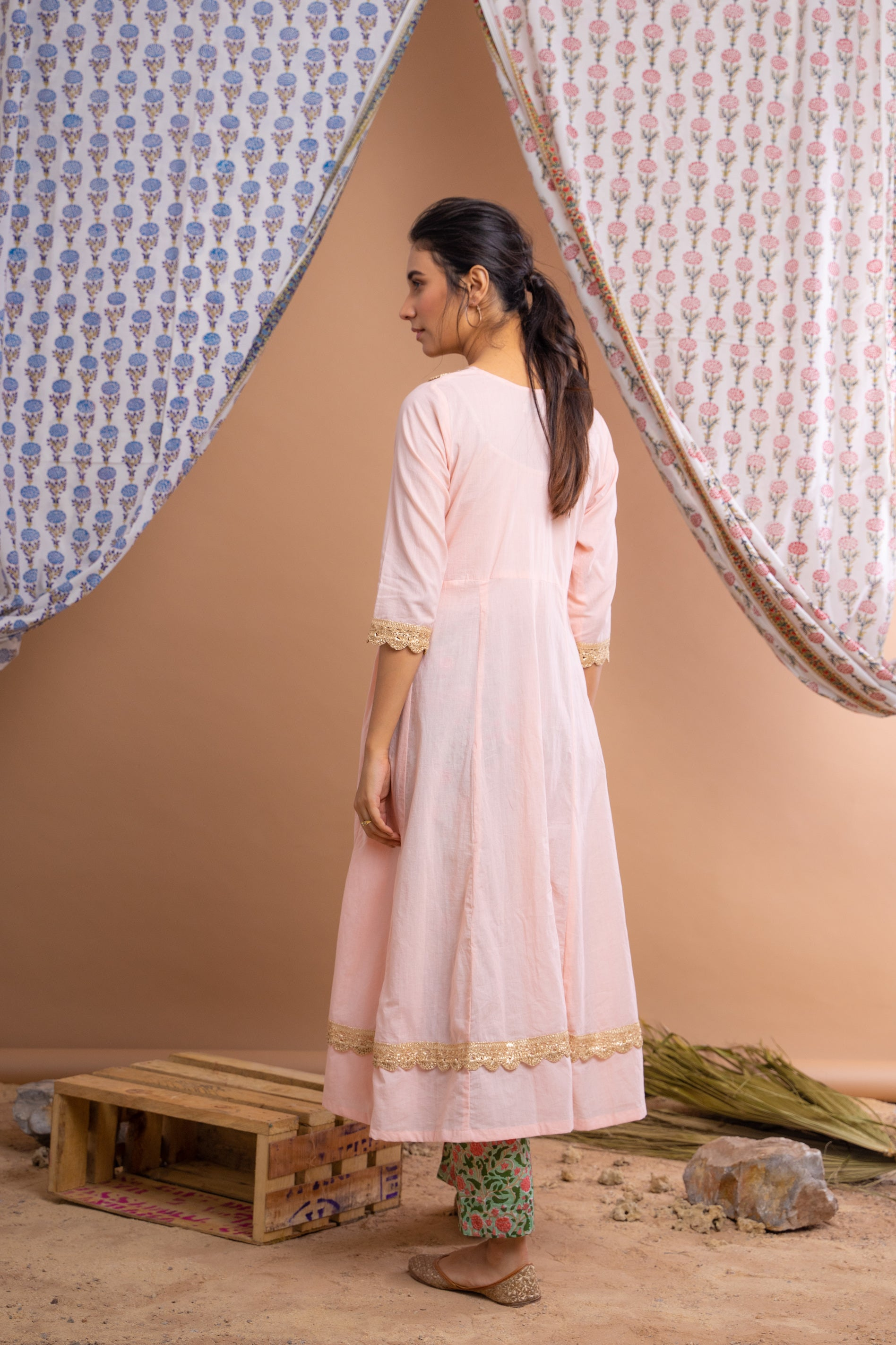 Peach And Green Cotton Anarkali