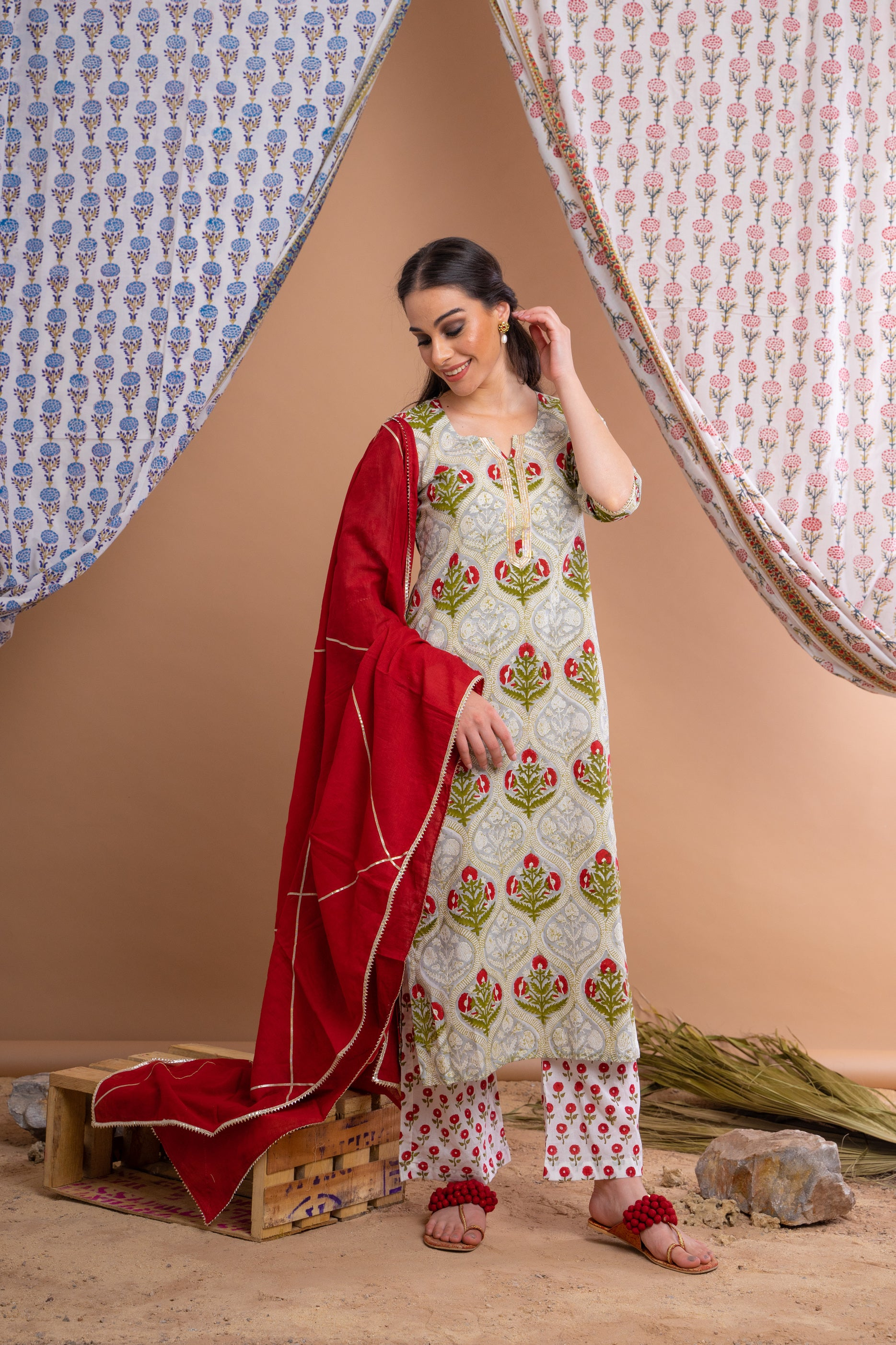 Green Hand Block Printed Cotton Kurta With Red Palazzo And Mulmul Gota Dupatta