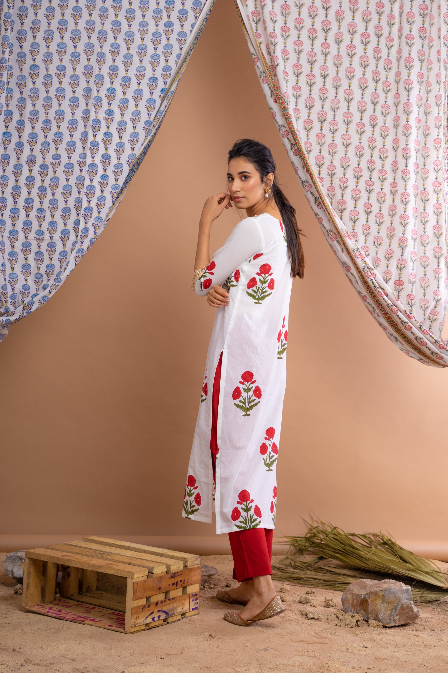 White Hand Block Printed Cotton Kurta With Red Palazzo And Gota Mulmul Dupatta