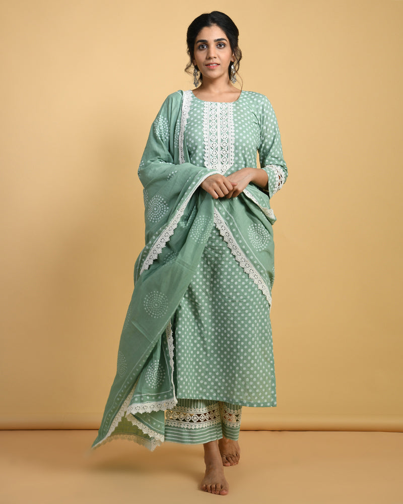 Sage Green Khari hand block print kurta set - set of 3