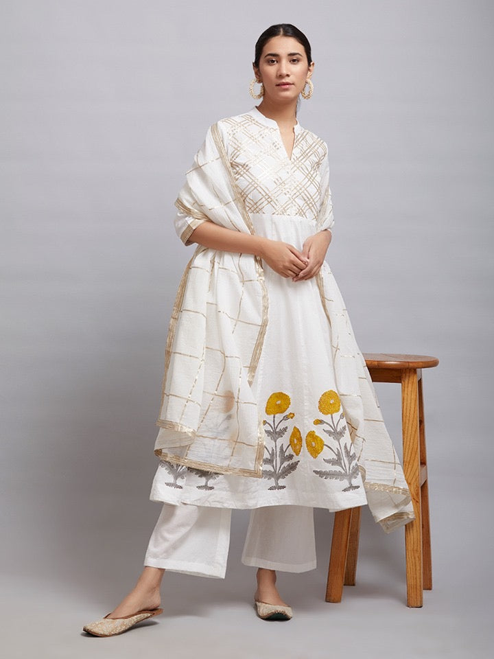 Off White Gota Hand Block Printed Cotton Kalidar Kurta with Palazzo and Chanderi Dupatta- Set of 3