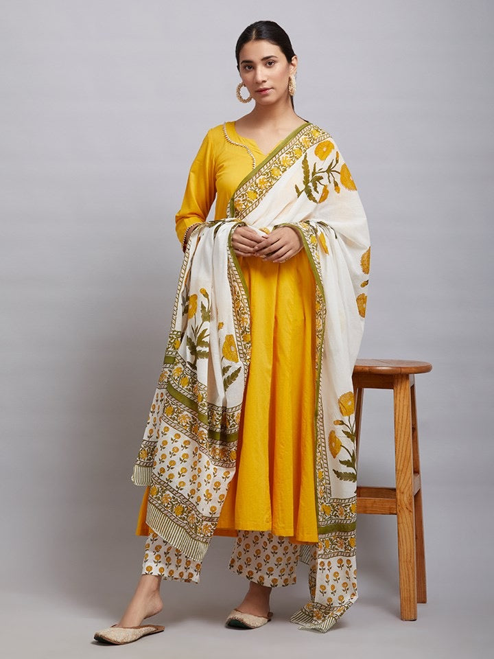Bipasha Basu in Yellow Cotton Kalidar Gota Kurta with Off White Hand Block Printed Palazzo and Mulmul Dupatta- Set of 3