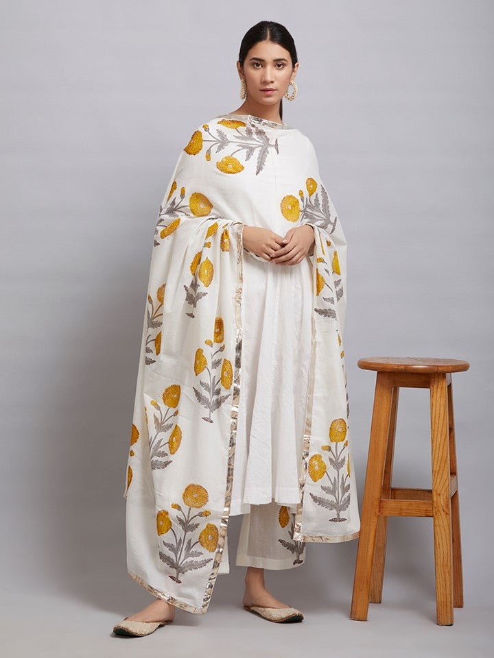 Off White Cotton Kalidar Kurta with Yellow Hand Block Printed Mulmul Palazzo and Dupatta- Set of 3