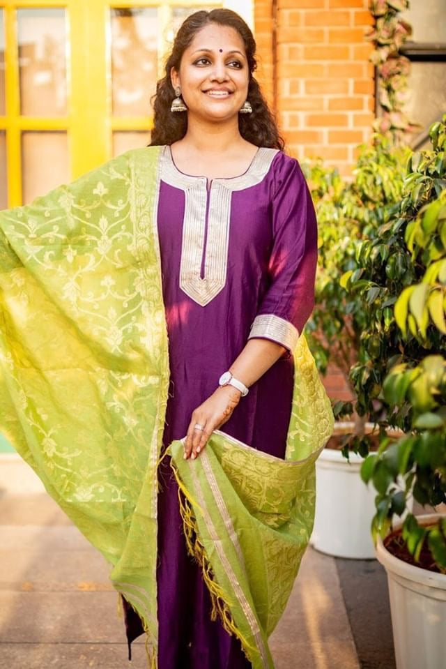 Purple chanderi gota set with lime green banarsi dupatta - set of 3