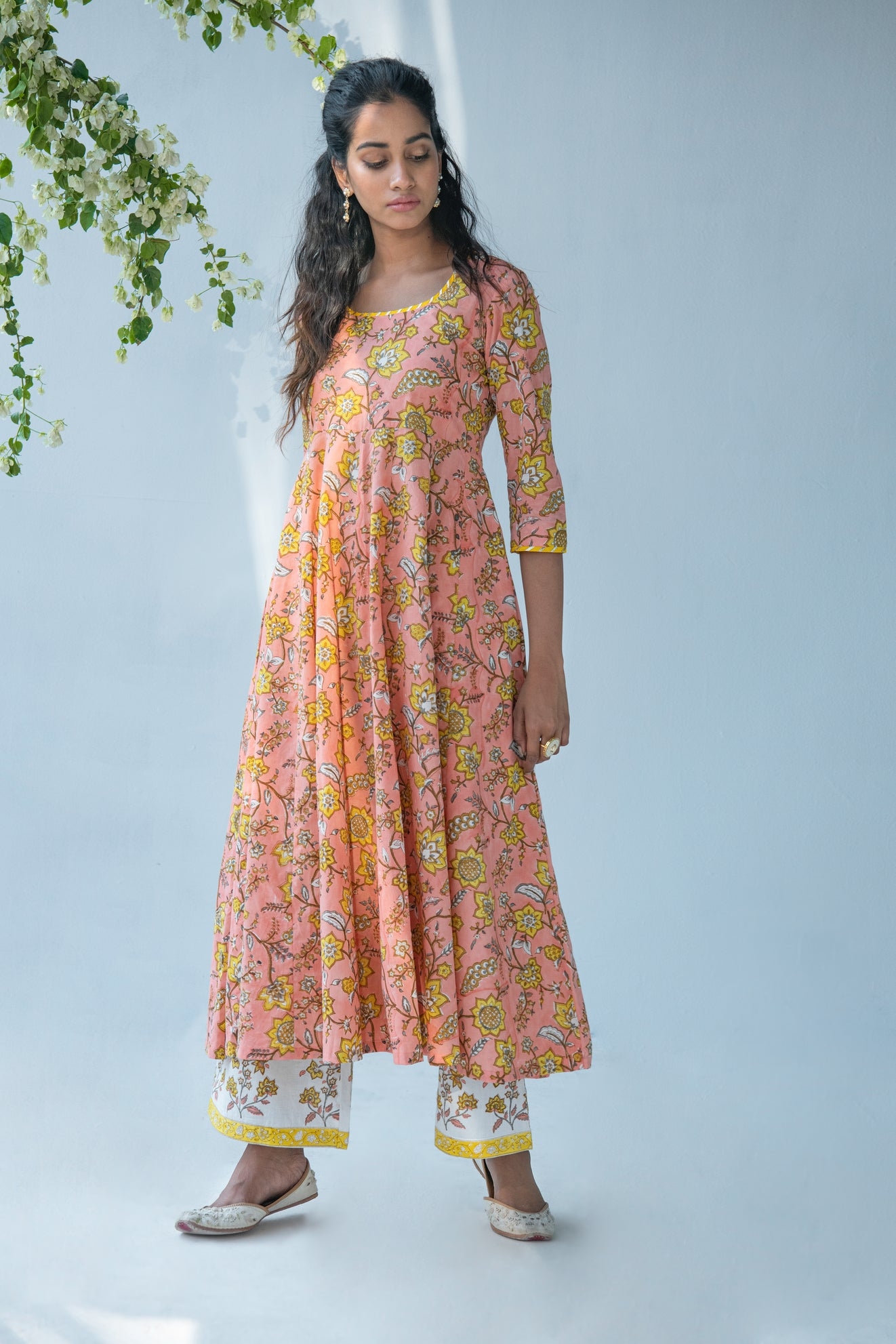 Peach Hand block Printed Anarkali with Palazzo and Duppata - set of 3