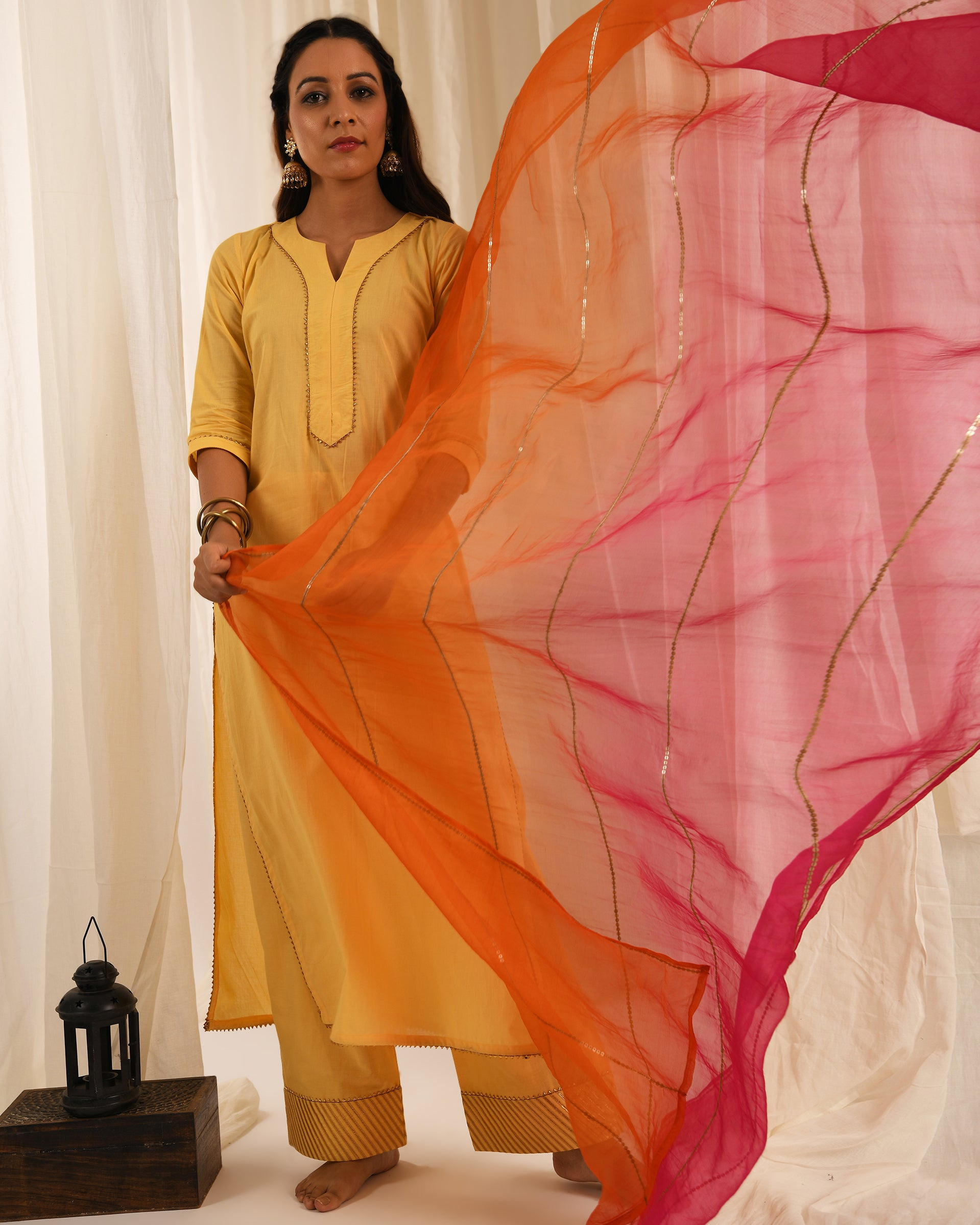 Yellow gota kurta set with ombre dupatta-set of 3