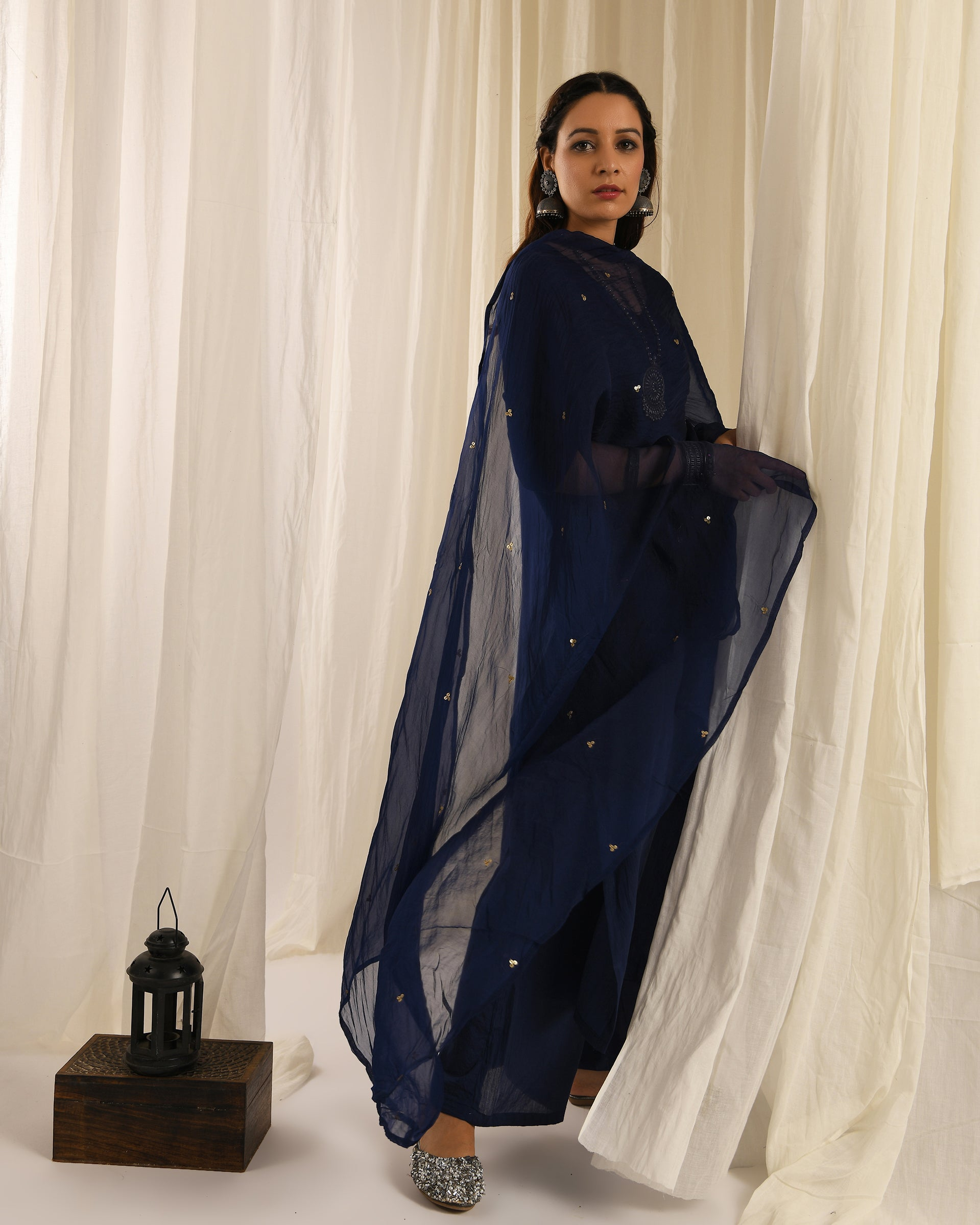 Navy Blue kurta set with navy blue sitara dupatta- set of 3
