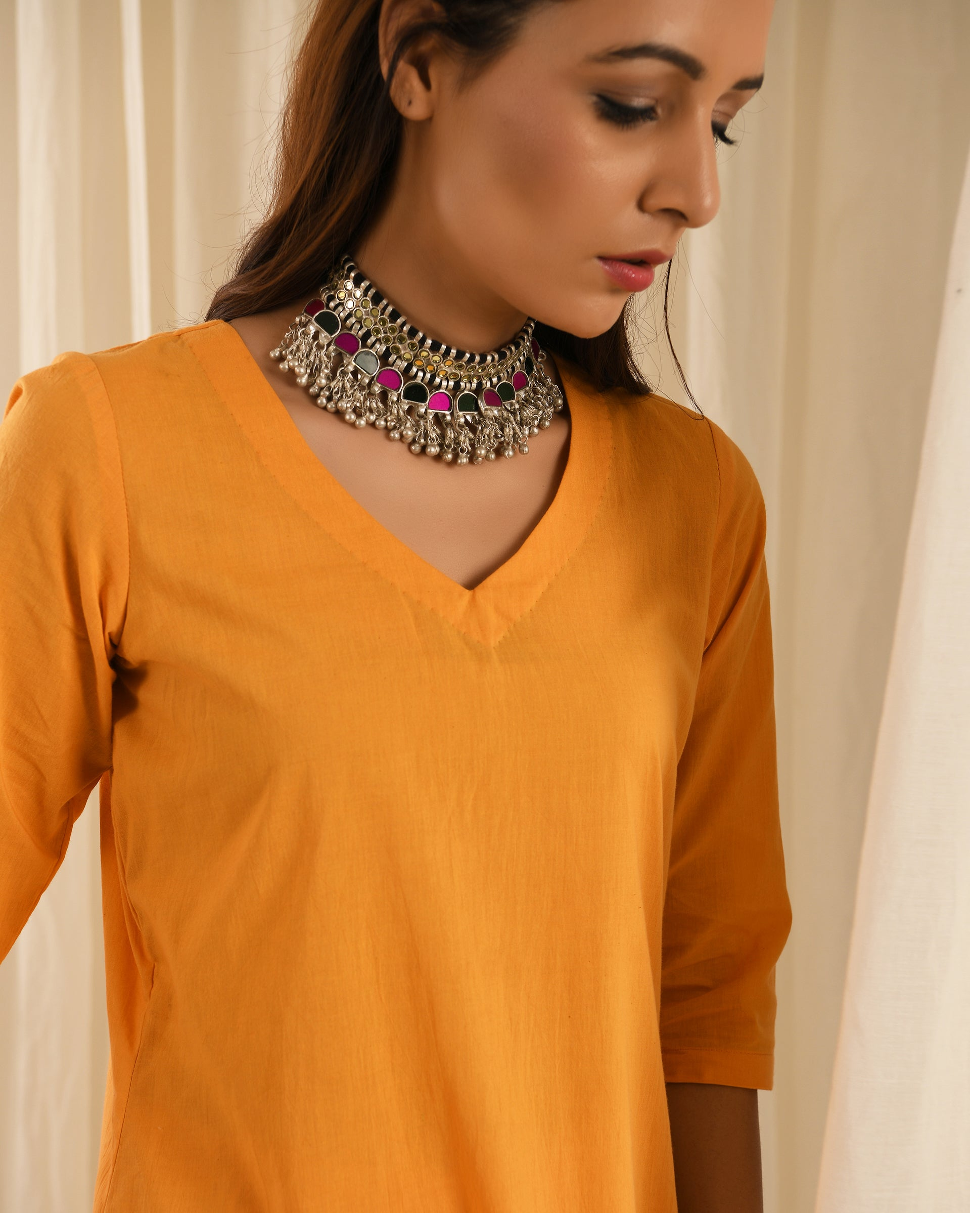 Orange kurta set of 2