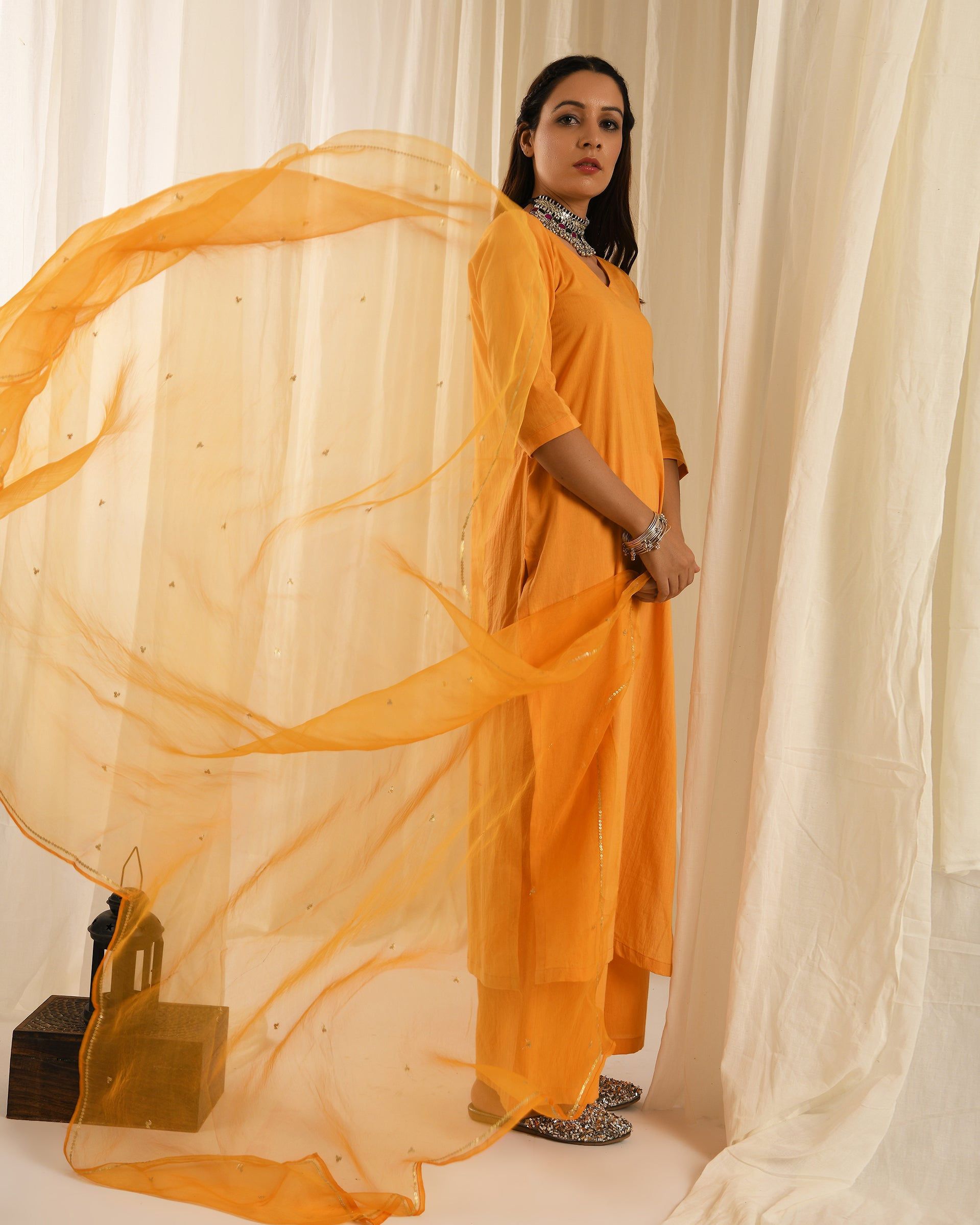 Orange kurta set with organza sitara dupatta - set of 3
