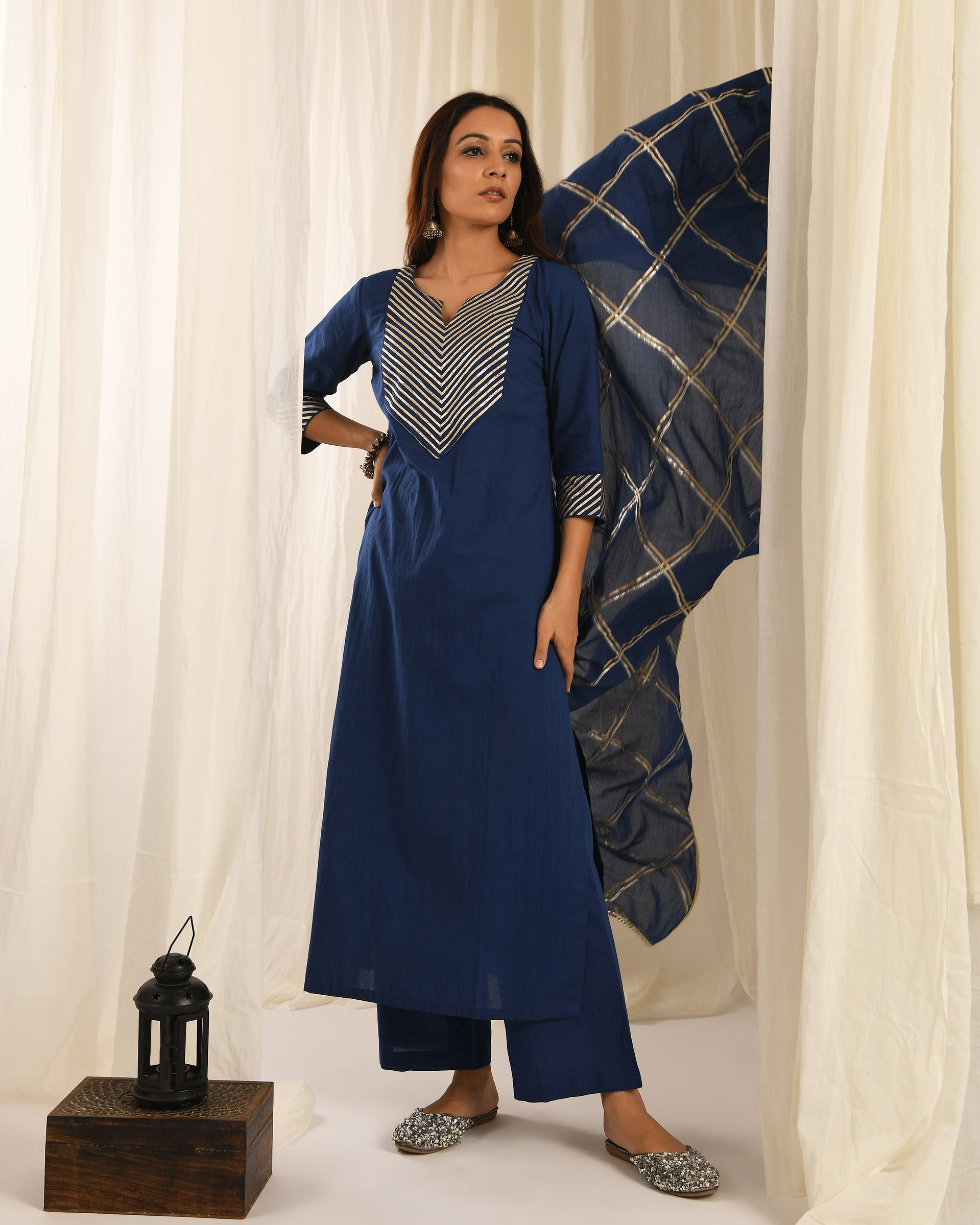 Blue gota kurta set of 3