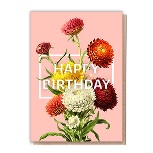 Happy Birthday Flowers Greeting Card & Flower Seed Token - Beautykind