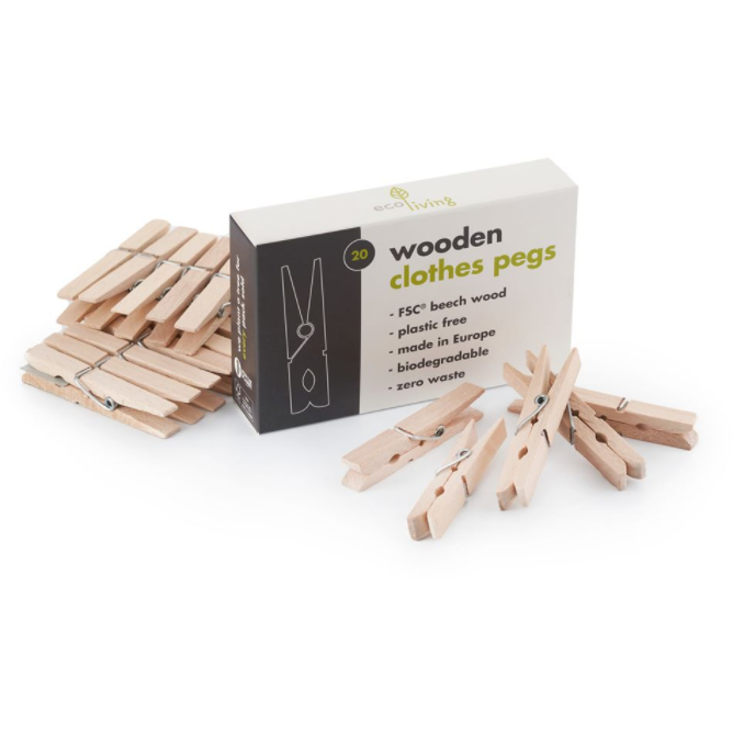 20 Wooden Clothes Pegs (Pack of 20)