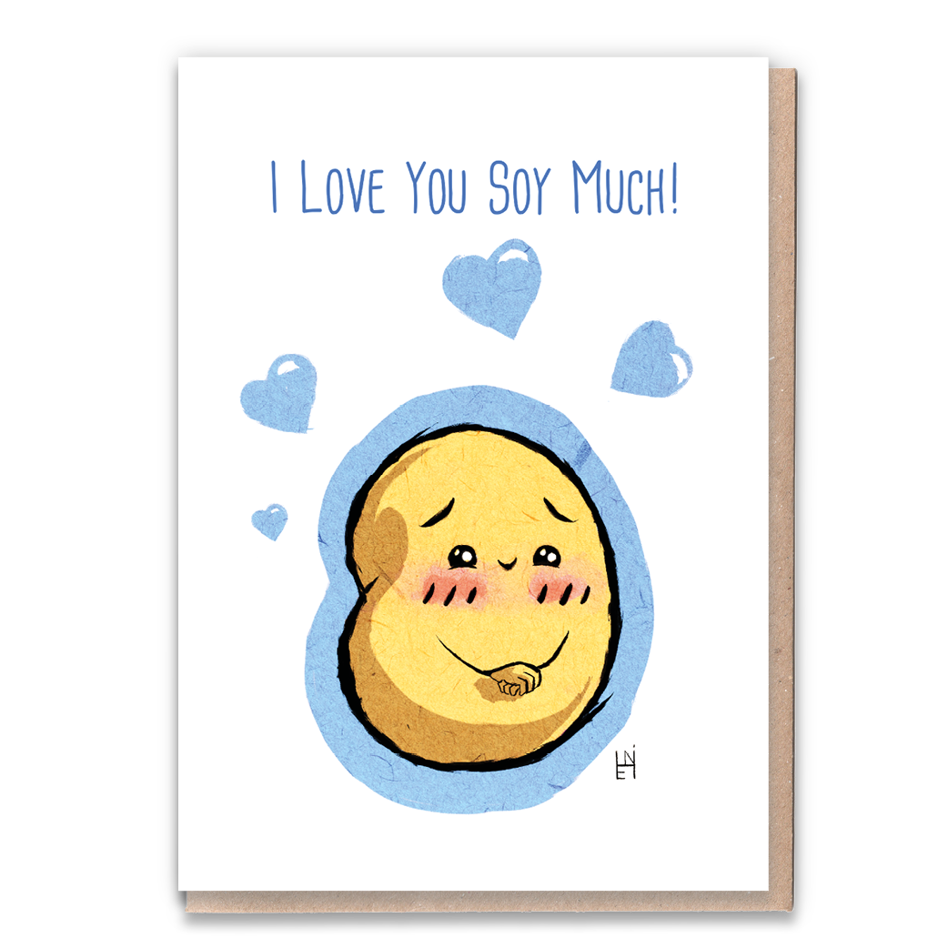 I Love You Soy Much Greeting Card & Flower Seed Token - Beautykind