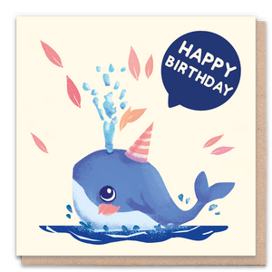 Happy Birthday Whale Greeting Card & Flower Seed Token - Beautykind