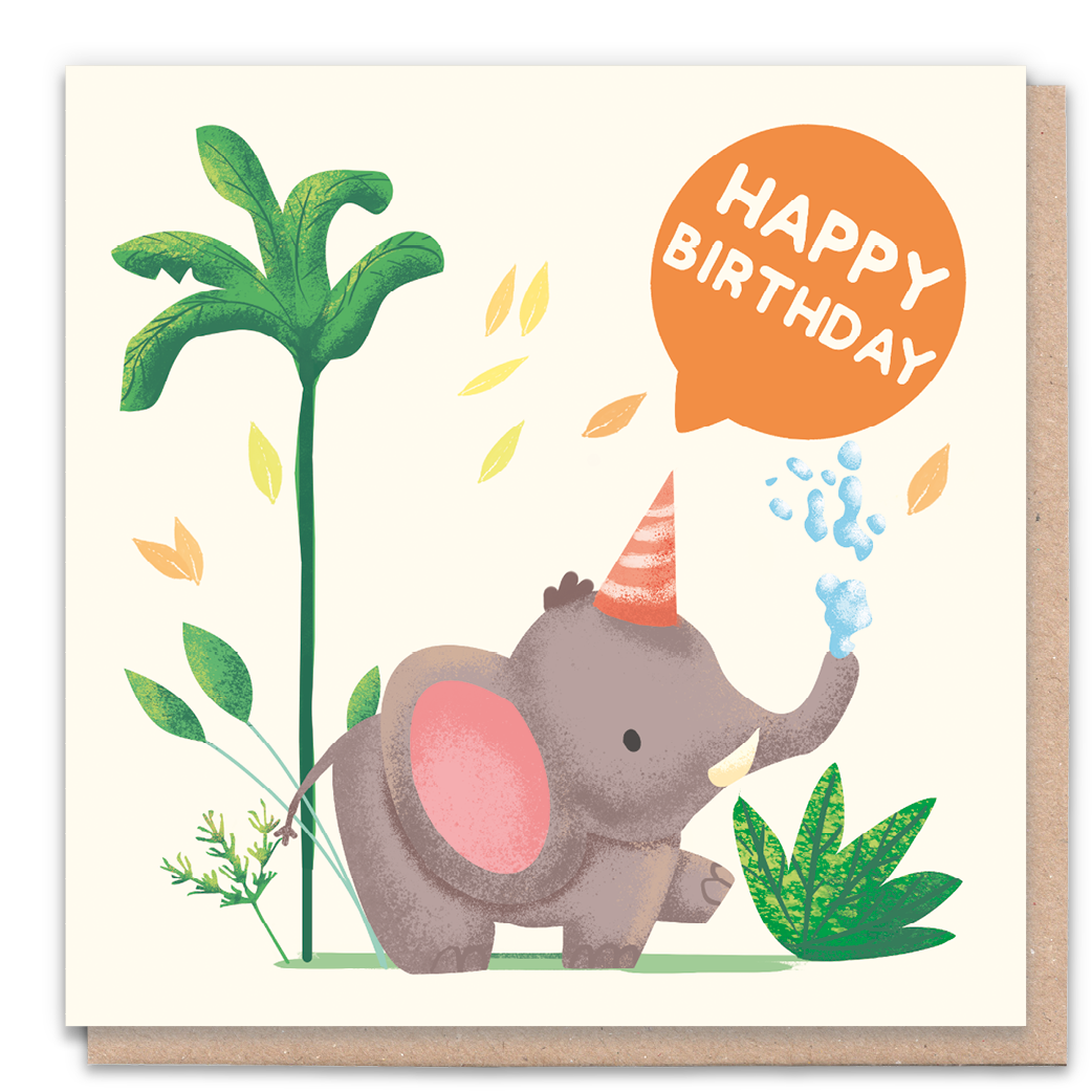 Happy Birthday Elephant Greeting Card & Flower Seed Token - Beautykind
