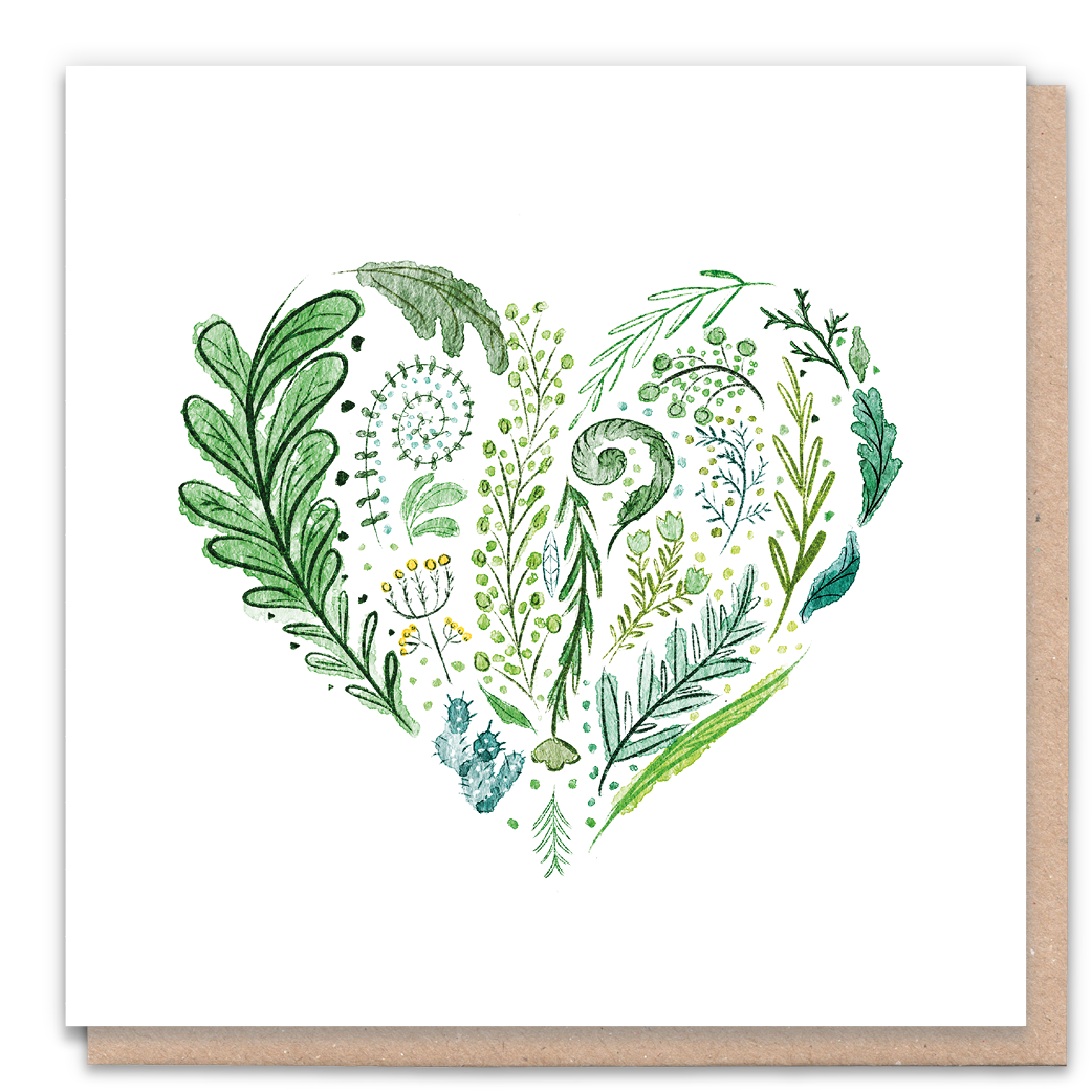 Green Heart Greeting Card & Flower Seed Token - Beautykind