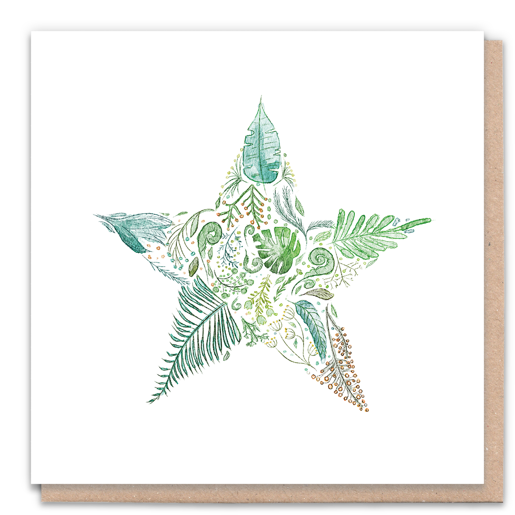 Green Star Greeting Card & Flower Seed Token - Beautykind