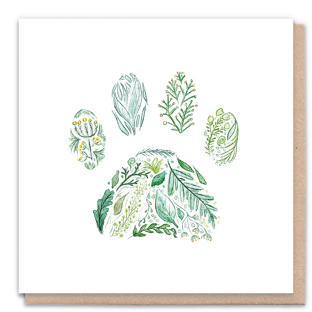 Green Paw Greeting Card & Flower Seed Token - Beautykind