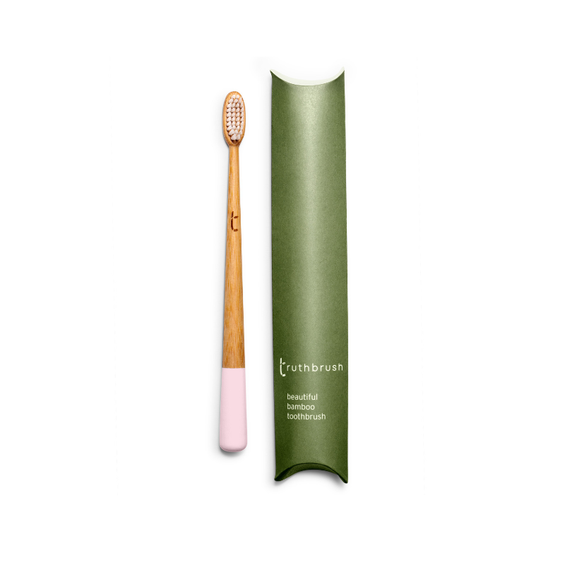 Petal Pink Bamboo Toothbrush with Plant Based Bristles - Beautykind