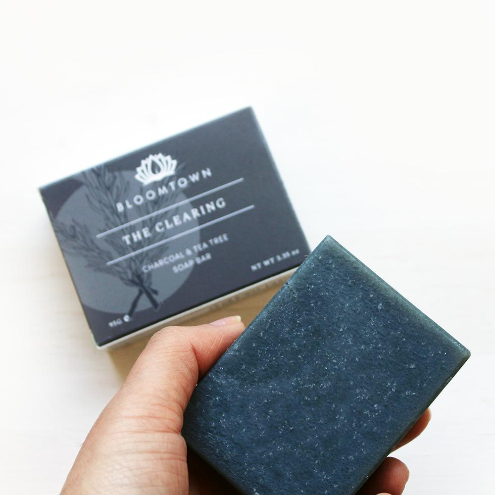 Nourishing Soap Bar: The Clearing - Charcoal & Tea Tree (95g) - Beautykind