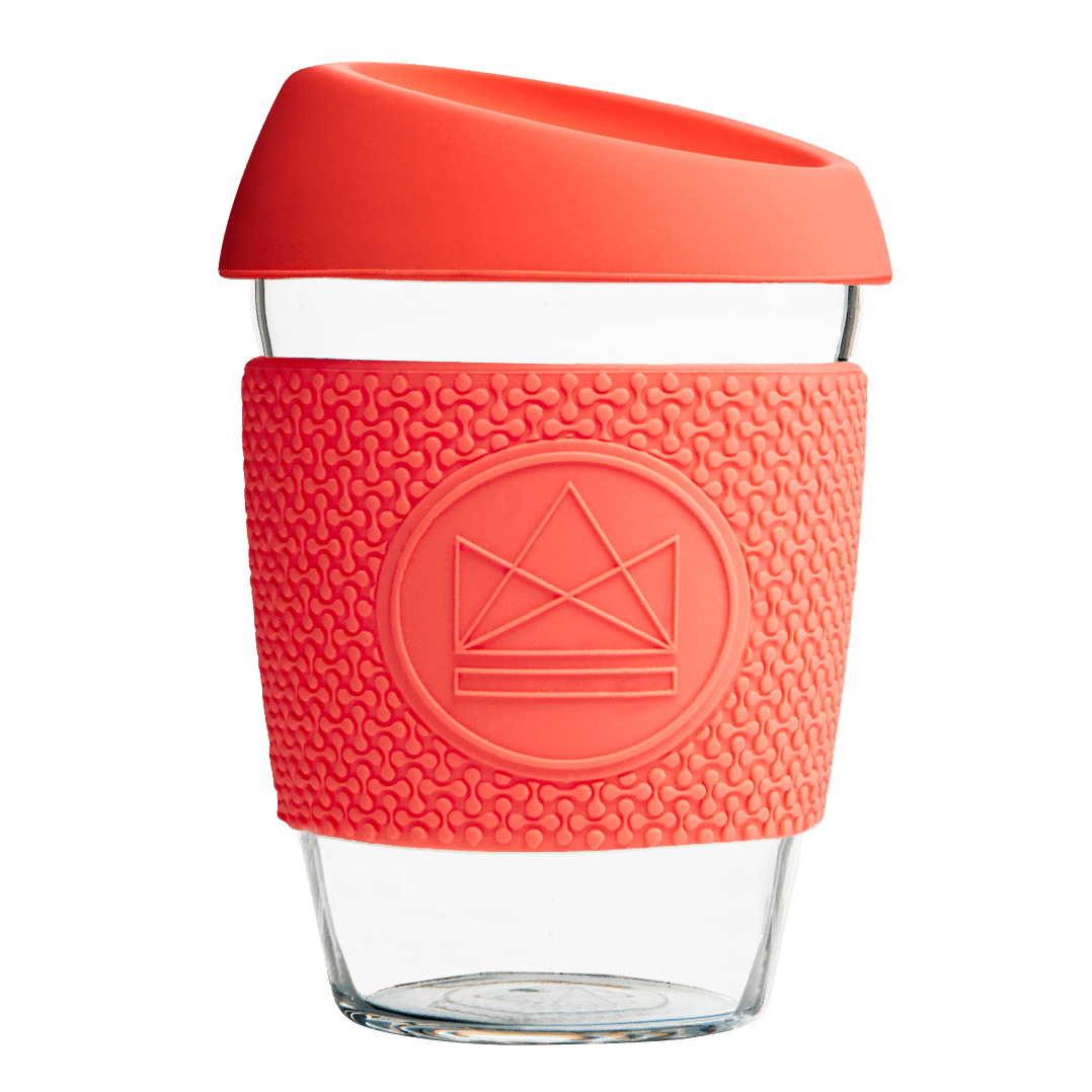 12oz Glass Reusable Coffee Cup - Red - Beautykind