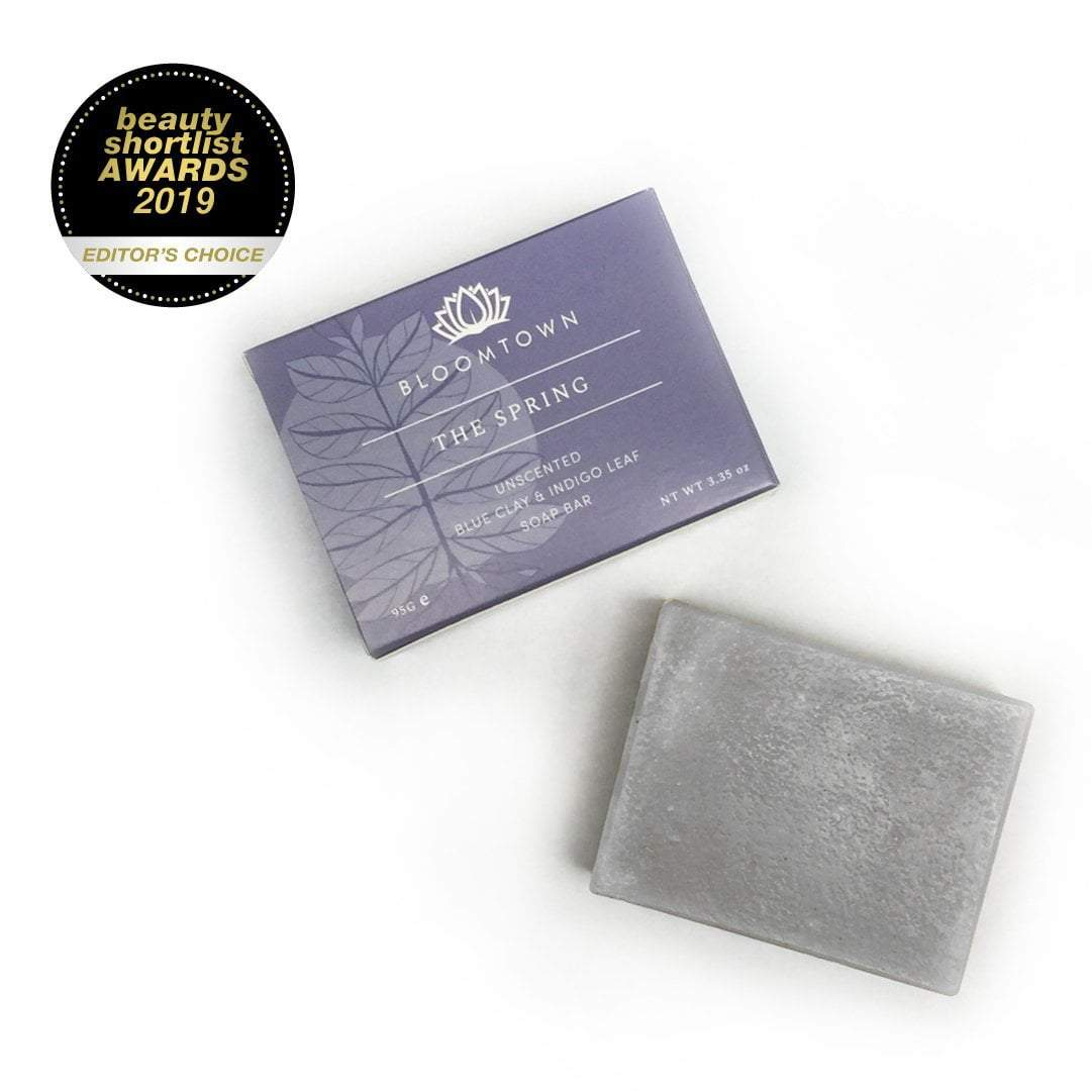 Nourishing Soap Bar: The Spring - Unscented Blue Clay & Indigo Leaf (95g) - Beautykind