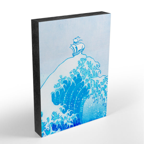 ArtBlock - Holzbild mit Illustration - Big Blue Wave - Pop Art - Größe A6