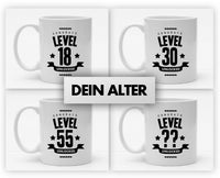 Personalisierbare Tasse mit Namen und Alter - Level Unlocked - 325ml - Handmade