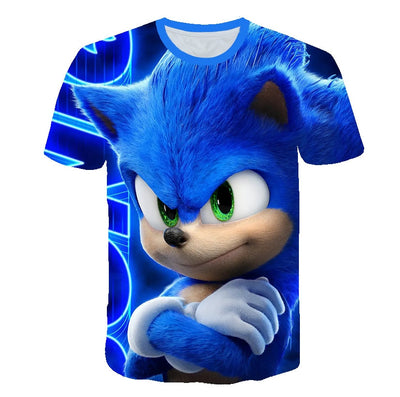 2020  Boys Cartoon Sonic Hedgehog T Shirt Blue 3D