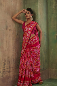 Classic Red Bandhani Saree GH-42
